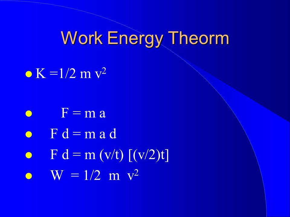 Work Energy Theorm K =1/2 m v 2 F = m a F d = m a d F d = m (v/t) [(v/2)t] W = 1/2 m v 2
