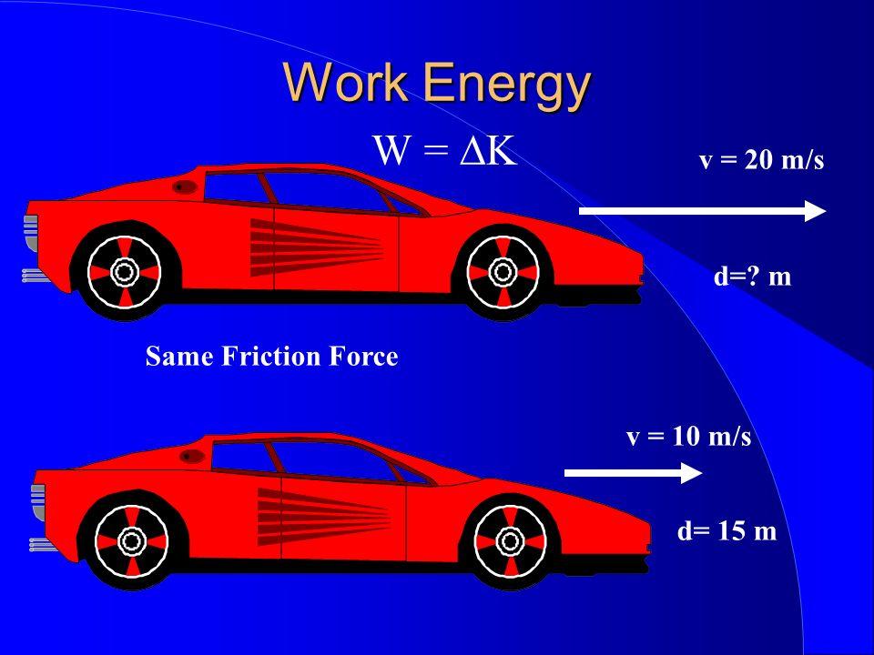 Work Energy Work Energy W = K v = 20 m/s d=? m v = 10 m/s d= 15 m Same Friction Force