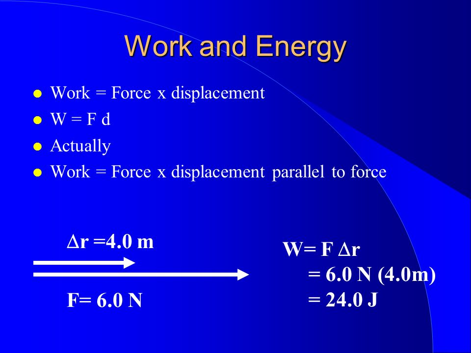 Work and Energy Work = Force x displacement W = F d Actually Work = Force x displacement parallel to force r =4.0 m F= 6.0 N W= F r = 6.0 N (4.0m) = 2