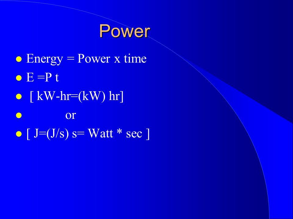 Power Energy = Power x time E =P t [ kW-hr=(kW) hr] or [ J=(J/s) s= Watt * sec ]