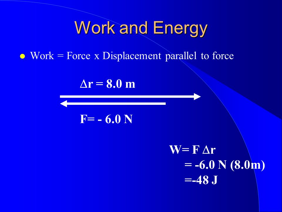 Work and Energy Work = Force x Displacement parallel to force r = 8.0 m F= - 6.0 N W= F r = -6.0 N (8.0m) =-48 J