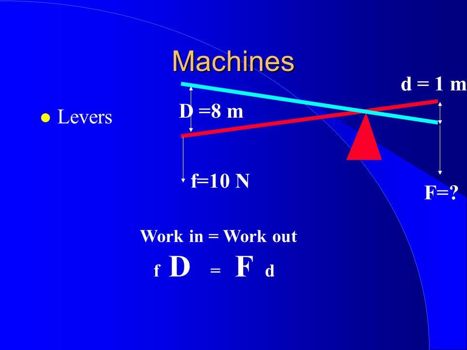 Machines Levers D =8 m d = 1 m f=10 N F=? Work in = Work out f D = F d
