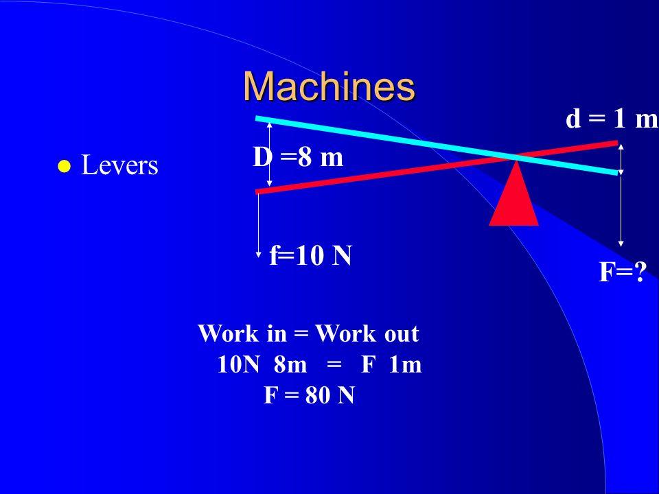 Machines Levers D =8 m d = 1 m f=10 N F=? Work in = Work out 10N 8m = F 1m F = 80 N