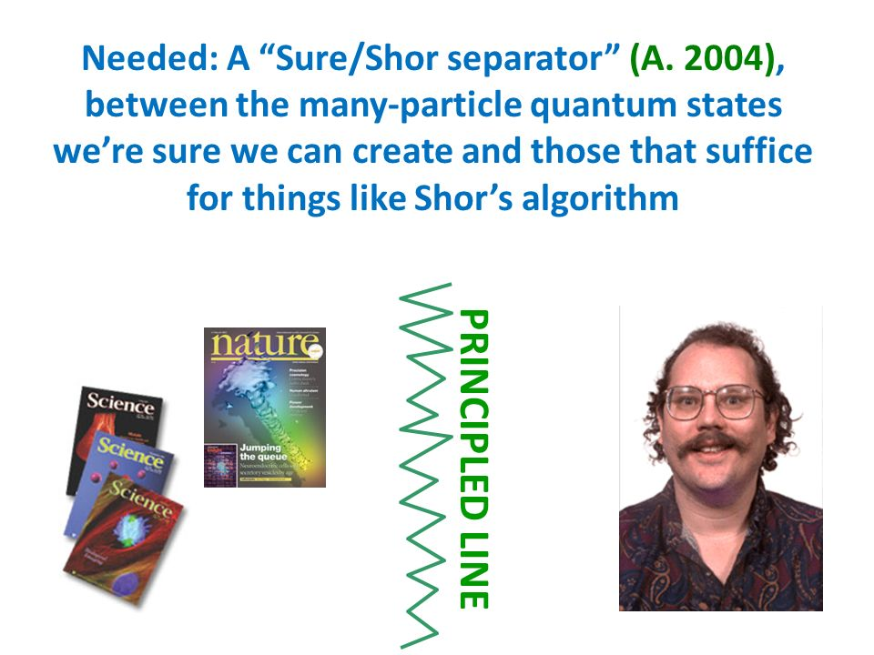 Needed: A Sure/Shor separator (A. 2004), between the many-particle quantum states were sure we can create and those that suffice for things like Shors