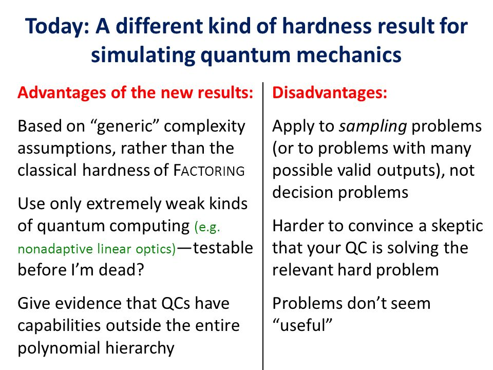 Advantages of the new results: Based on generic complexity assumptions, rather than the classical hardness of F ACTORING Use only extremely weak kinds