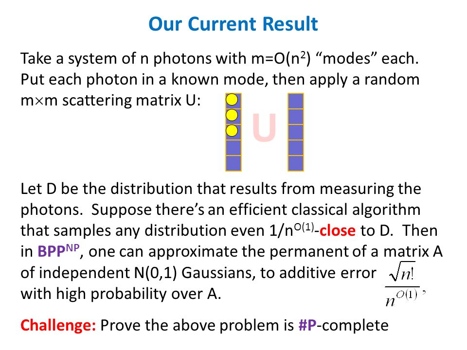 U Our Current Result Take a system of n photons with m=O(n 2 ) modes each. Put each photon in a known mode, then apply a random m m scattering matrix