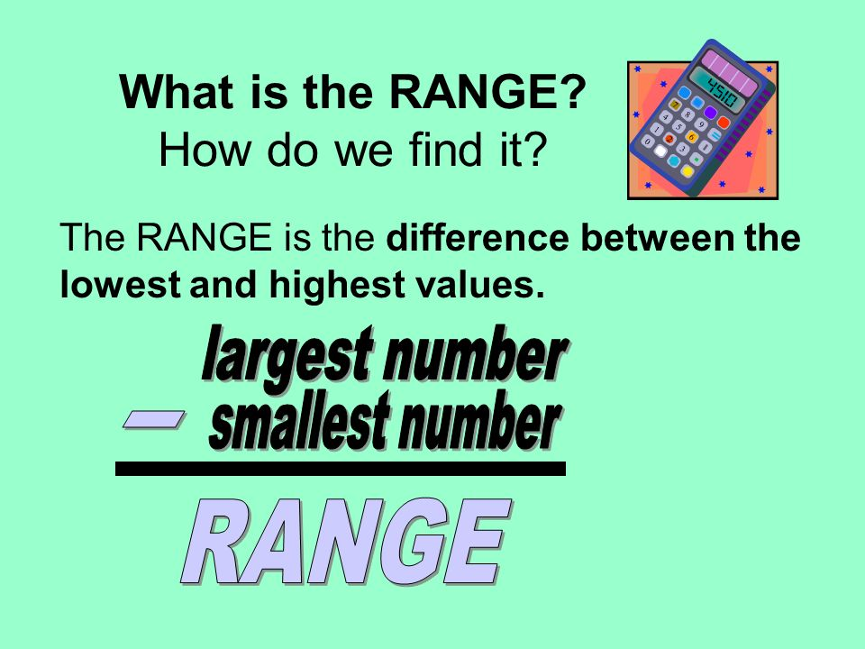 What is the RANGE? How do we find it? The RANGE is the difference between the lowest and highest values.