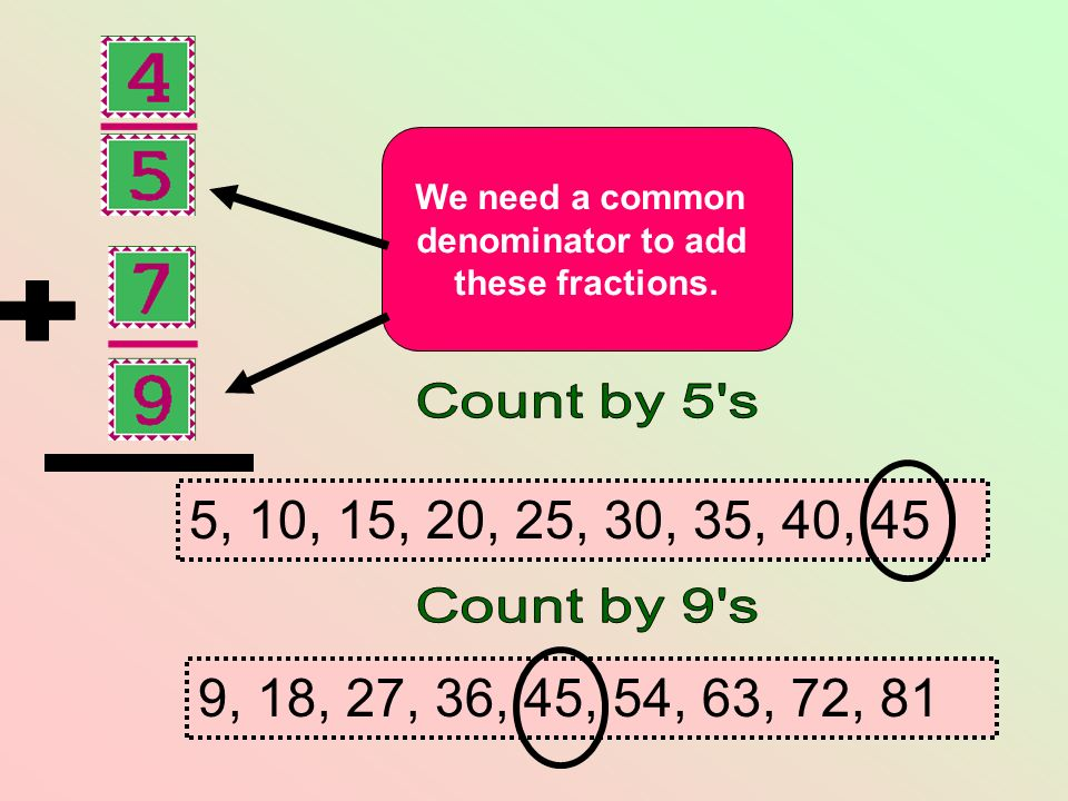 We need a common denominator to add these fractions. 9, 18, 27, 36, 45, 54, 63, 72, 81 5, 10, 15, 20, 25, 30, 35, 40, 45