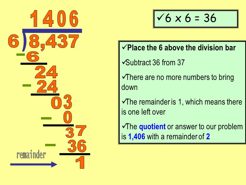 6 x 6 = 36 Place the 6 above the division bar Subtract 36 from 37 There are no more numbers to bring down The remainder is 1, which means there is one
