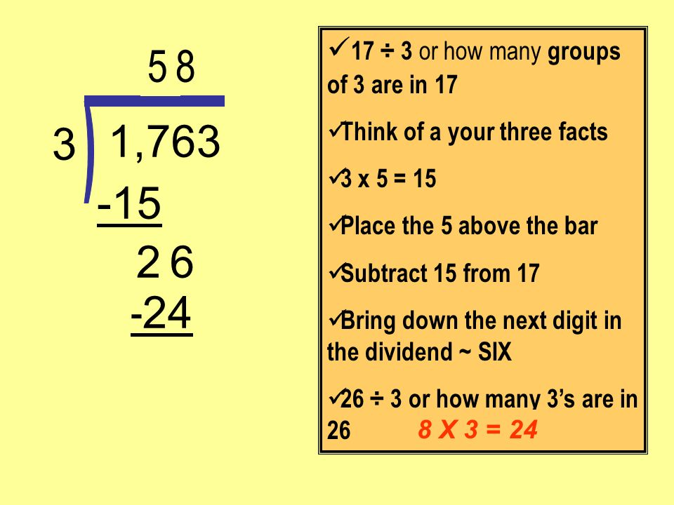 - 24 6 -15 1,763 3 17 ÷ 3 or how many groups of 3 are in 17 Think of a your three facts 3 x 5 = 15 Place the 5 above the bar Subtract 15 from 17 Bring