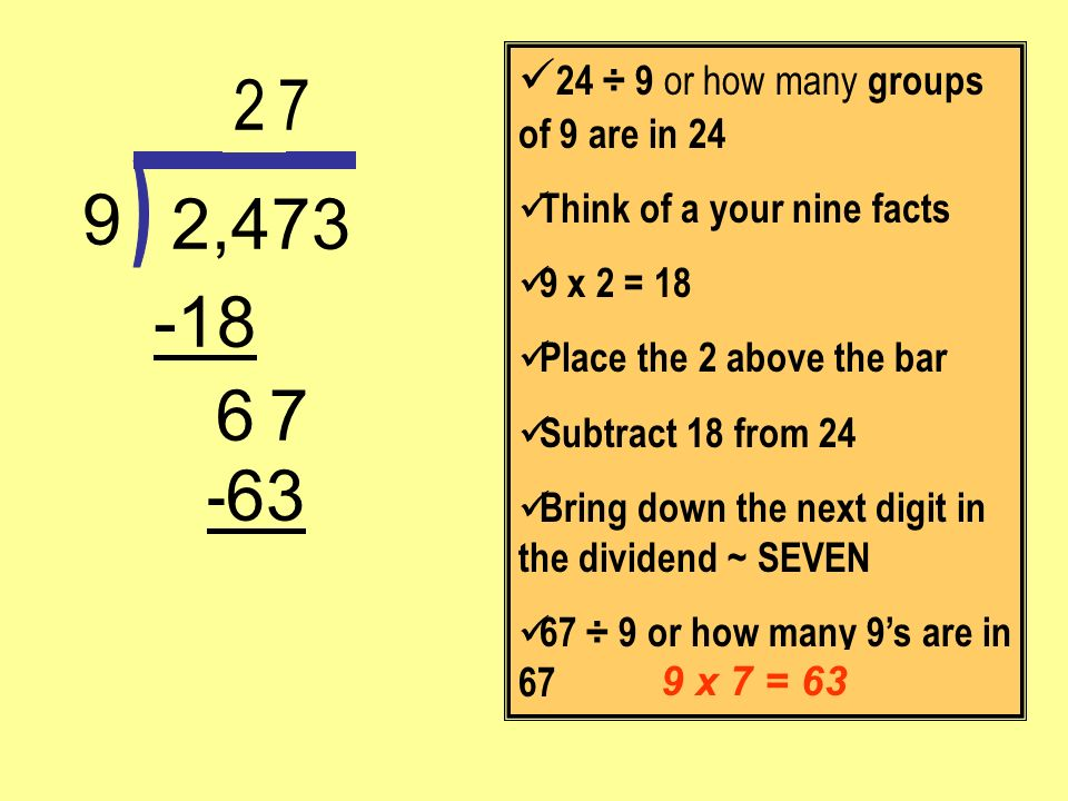 - 63 7 -18 2,473 9 24 ÷ 9 or how many groups of 9 are in 24 Think of a your nine facts 9 x 2 = 18 Place the 2 above the bar Subtract 18 from 24 Bring