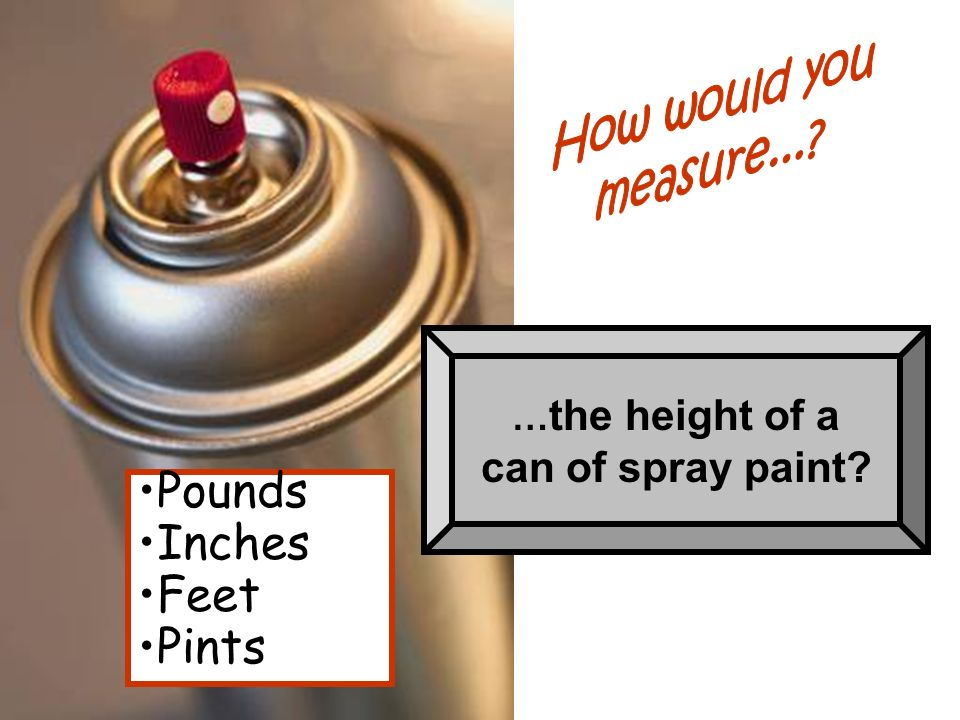 … the height of a can of spray paint? Pounds Inches Feet Pints