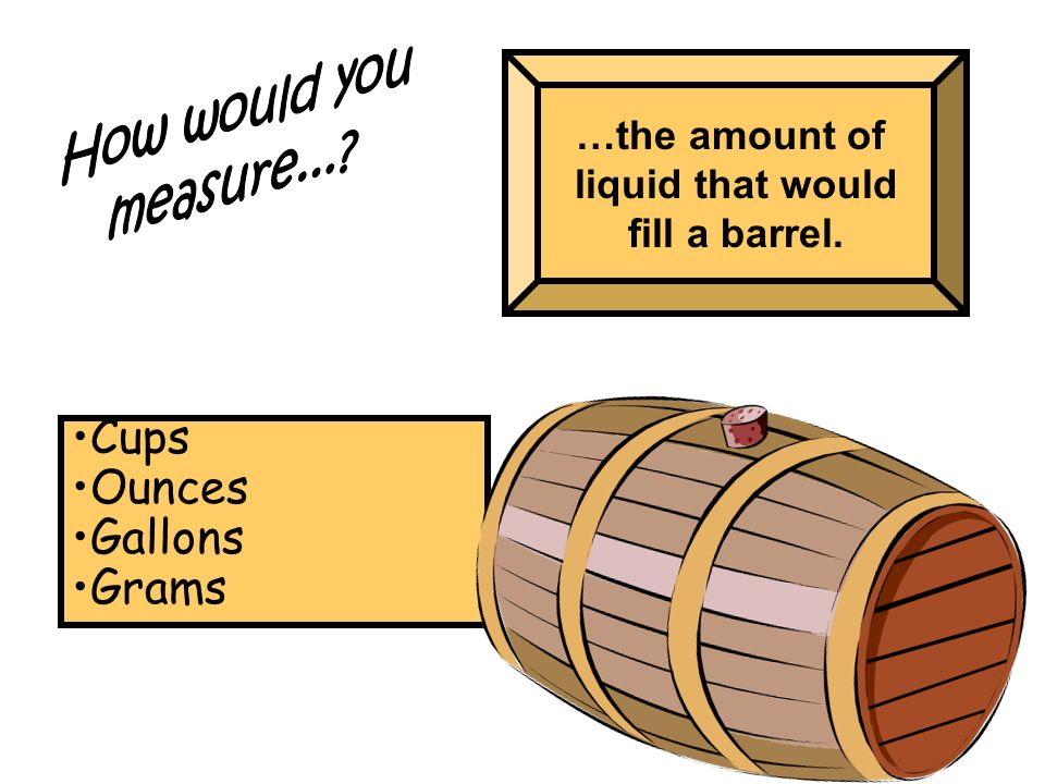 …the amount of liquid that would fill a barrel. Cups Ounces Gallons Grams