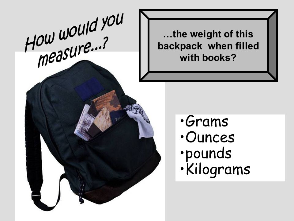…the weight of this backpack when filled with books? Grams Ounces pounds Kilograms