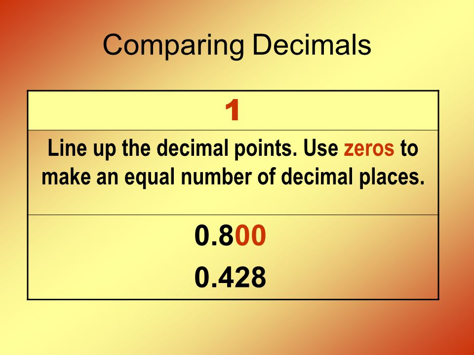 Comparing Decimals 2 Start by comparing the greatest place.