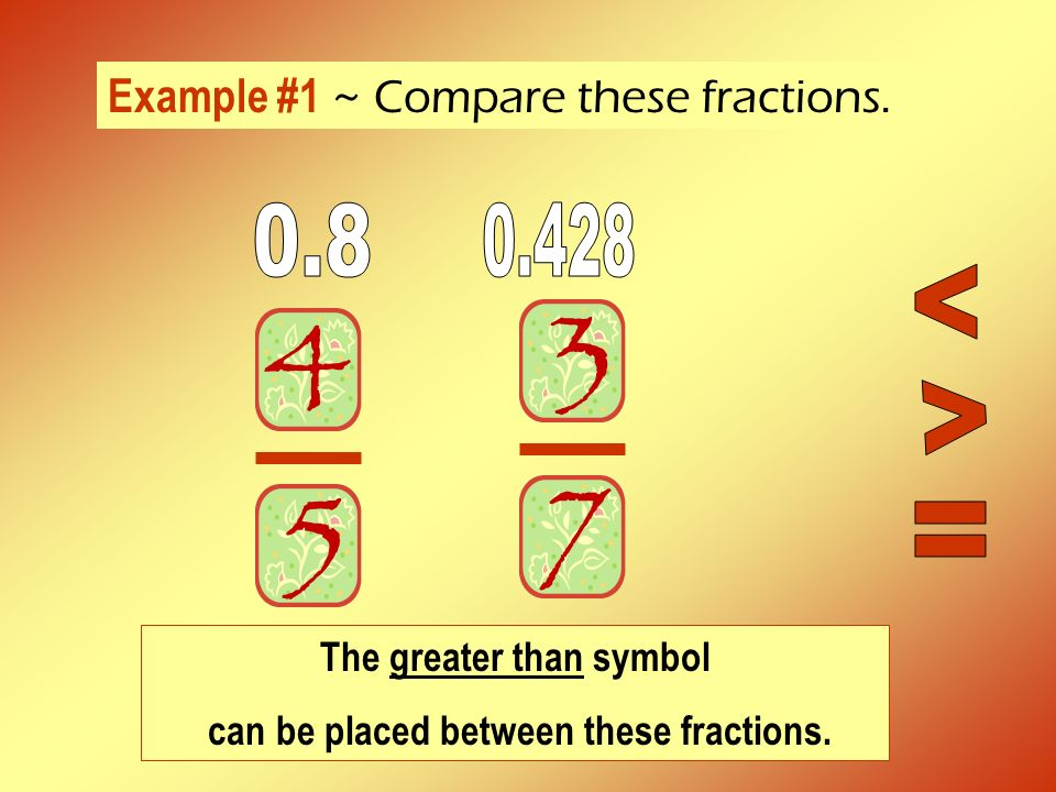 Example #1 ~ Compare these fractions. The greater than symbol can be placed between these fractions.