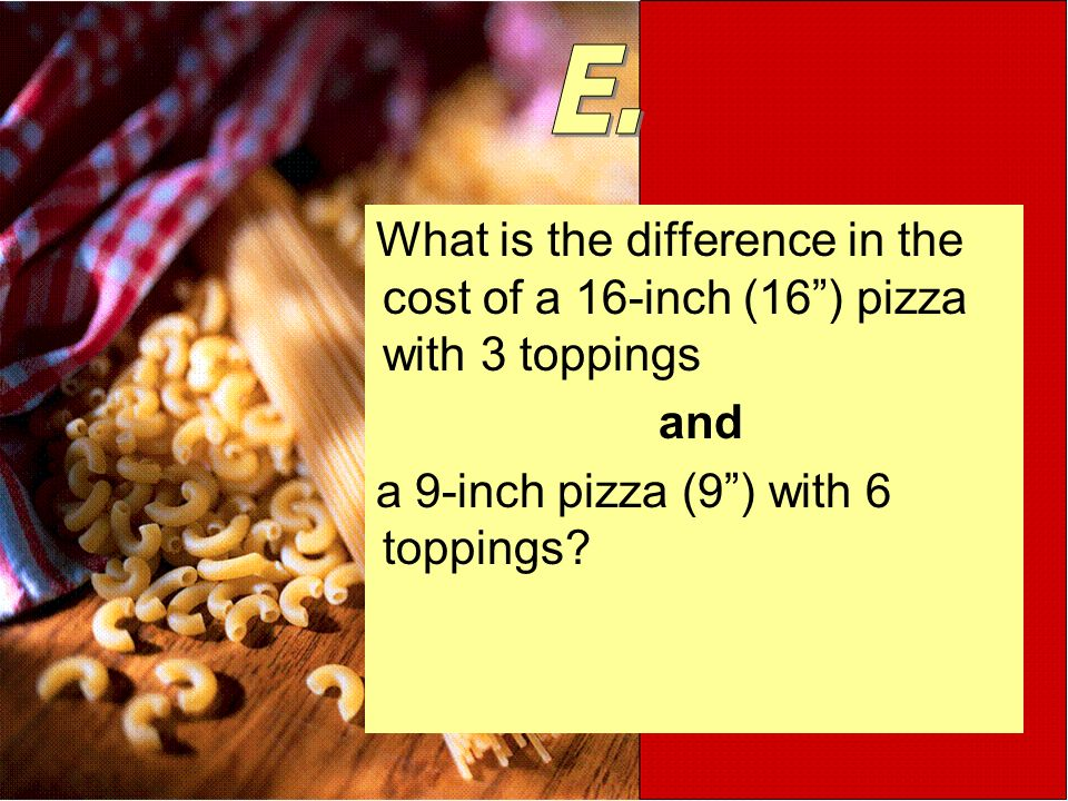 What is the difference in the cost of a 16-inch (16) pizza with 3 toppings and a 9-inch pizza (9) with 6 toppings