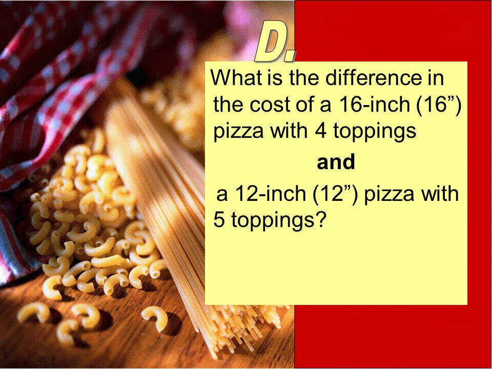 What is the difference in the cost of a 16-inch (16) pizza with 4 toppings and a 12-inch (12) pizza with 5 toppings