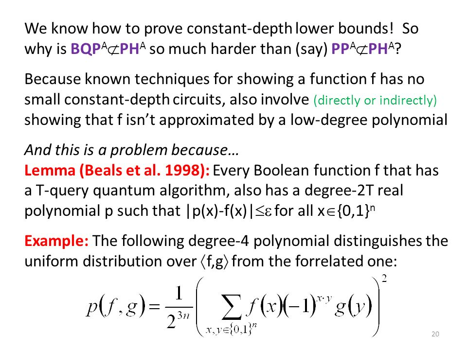 We know how to prove constant-depth lower bounds.