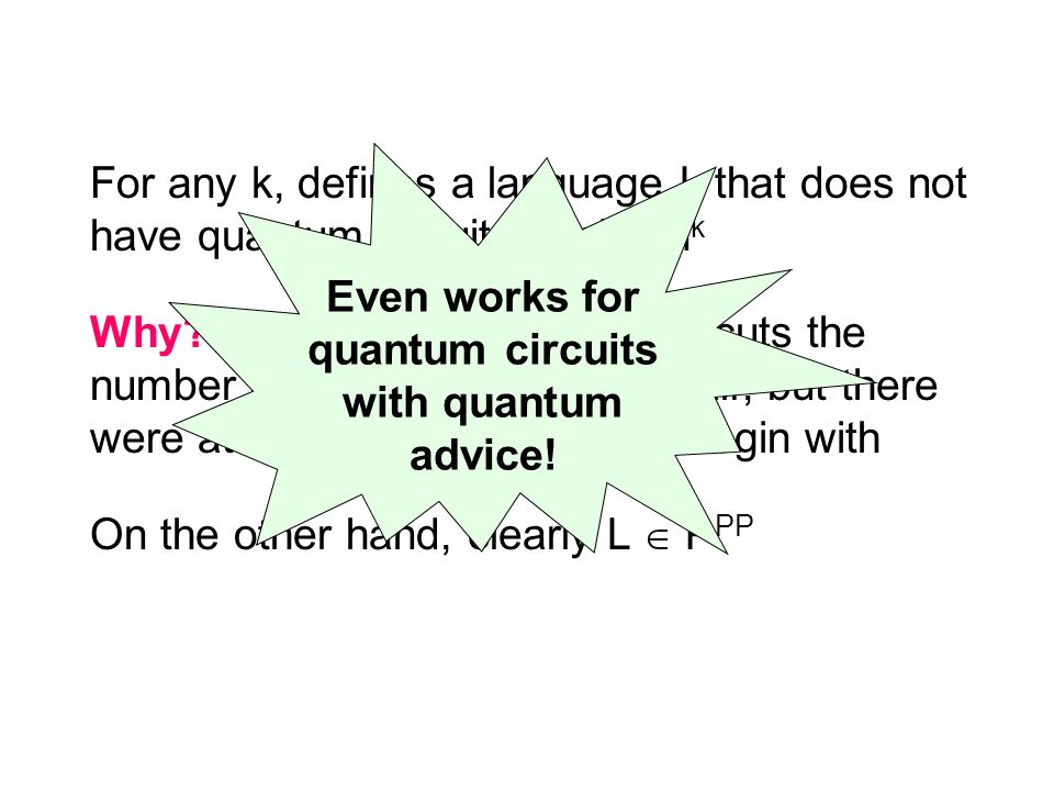 For any k, defines a language L that does not have quantum circuits of size n k Why.