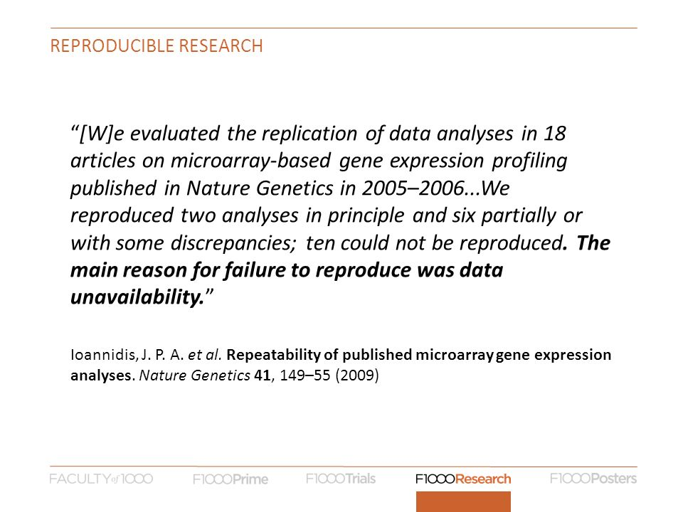 REPRODUCIBLE RESEARCH [W]e evaluated the replication of data analyses in 18 articles on microarray-based gene expression profiling published in Nature Genetics in 2005–2006...We reproduced two analyses in principle and six partially or with some discrepancies; ten could not be reproduced.