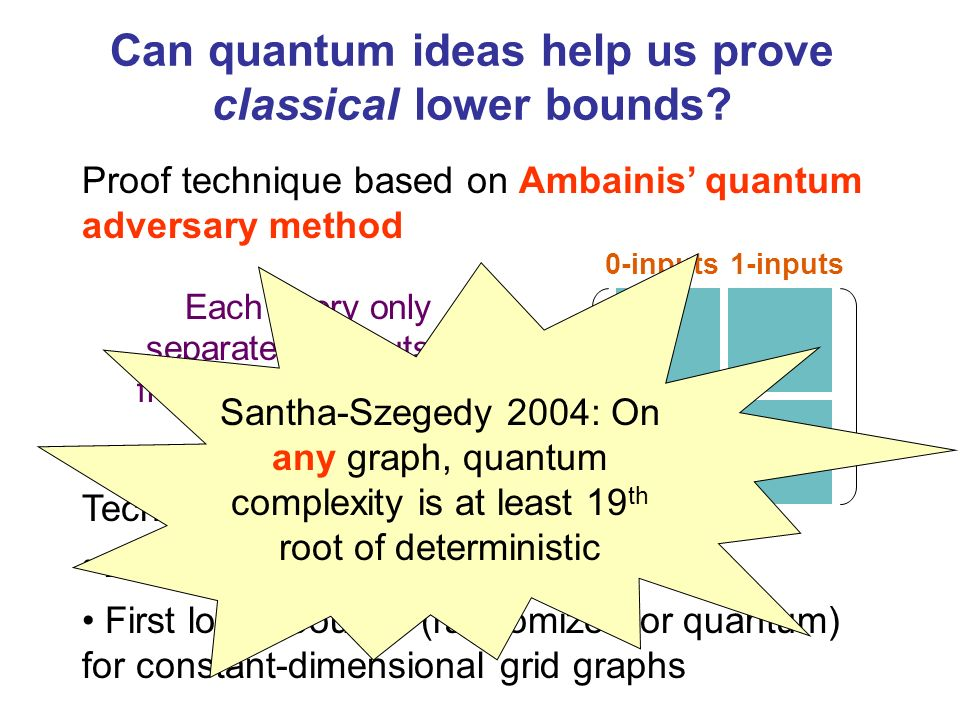 Proof technique based on Ambainis quantum adversary method Can quantum ideas help us prove classical lower bounds.
