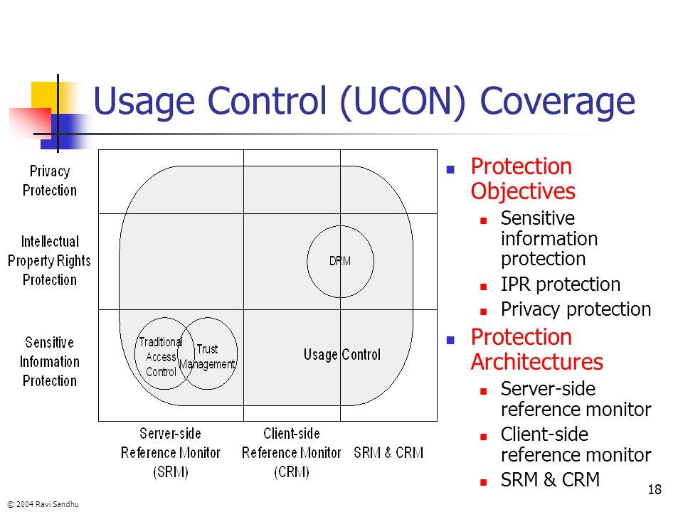 © 2004 Ravi Sandhu 18 Usage Control (UCON) Coverage Protection Objectives Sensitive information protection IPR protection Privacy protection Protectio
