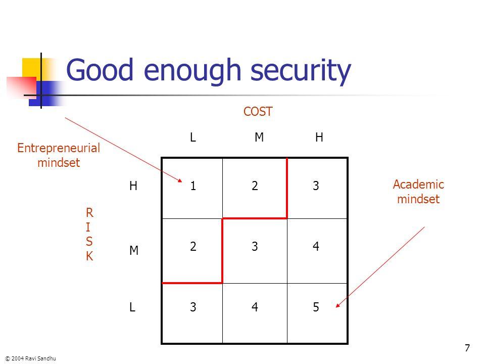 © 2004 Ravi Sandhu 7 Good enough security RISKRISK COST H M L LMH 1 2 3 2 3 4 3 4 5 Entrepreneurial mindset Academic mindset
