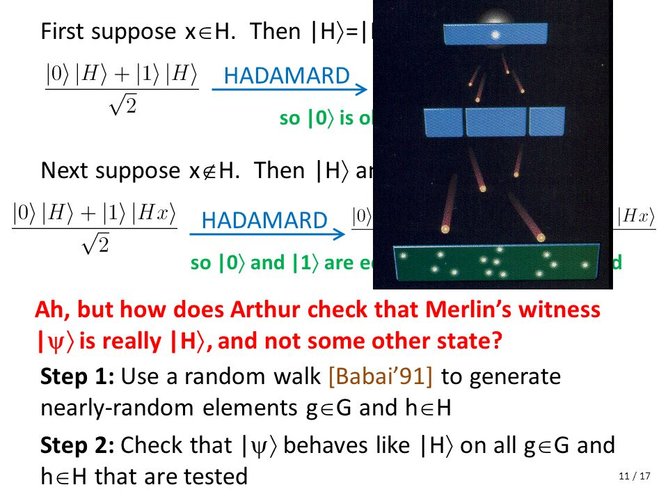 First suppose x H. Then |H =|Hx Ah, but how does Arthur check that Merlins witness | is really |H, and not some other state? Step 1: Use a random walk