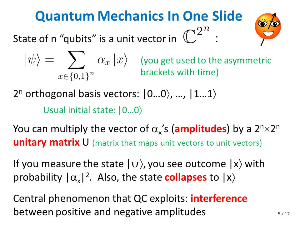 Quantum Mechanics In One Slide State of n qubits is a unit vector in : You can multiply the vector of x s (amplitudes) by a 2 n 2 n unitary matrix U (