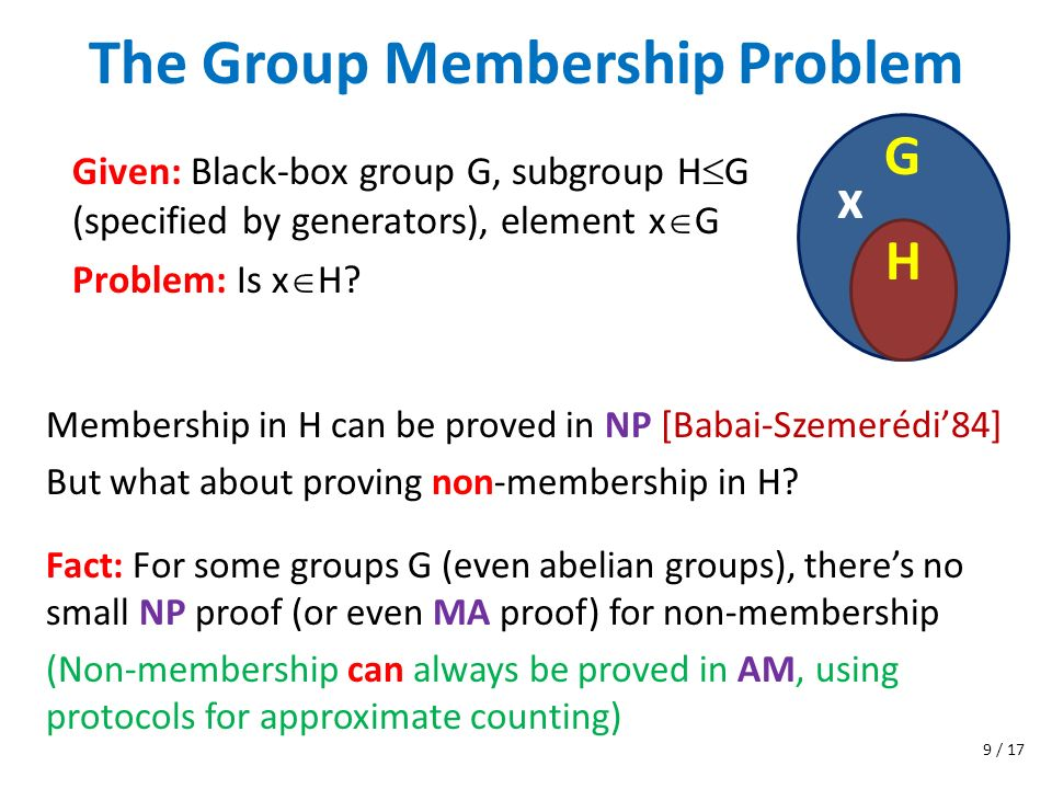 The Group Membership Problem Membership in H can be proved in NP [Babai-Szemerédi84] But what about proving non-membership in H? Given: Black-box grou