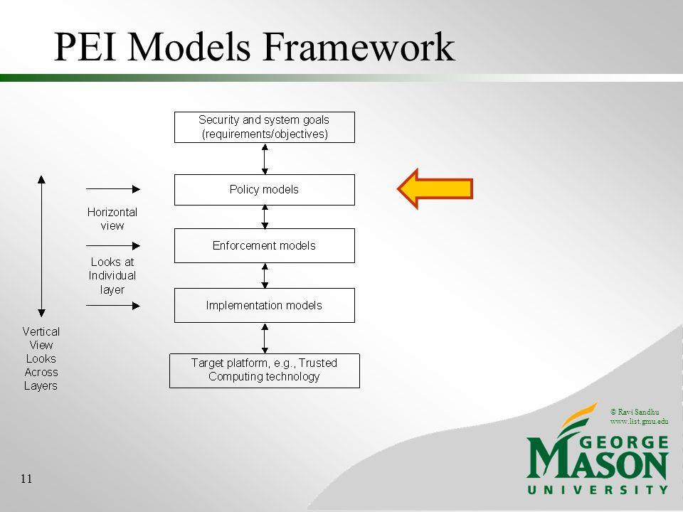 © Ravi Sandhu www.list.gmu.edu 11 PEI Models Framework