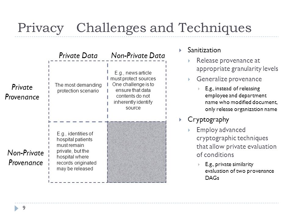 Privacy Challenges and Techniques Private Data 9 Non-Private Data Private Provenance Non-Private Provenance The most demanding protection scenario E.g., news article must protect sources One challenge is to ensure that data contents do not inherently identify source E.g., identities of hospital patients must remain private, but the hospital where records originated may be released Sanitization Release provenance at appropriate granularity levels Generalize provenance E.g., instead of releasing employee and department name who modified document, only release organization name Cryptography Employ advanced cryptographic techniques that allow private evaluation of conditions E.g., private similarity evaluation of two provenance DAGs