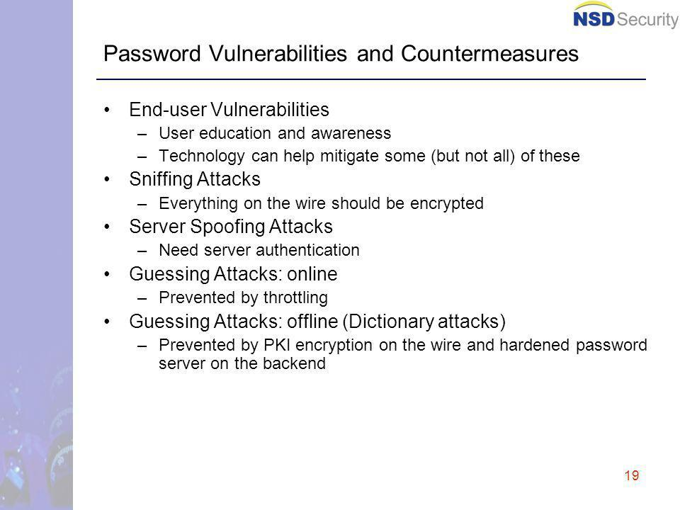 19 Password Vulnerabilities and Countermeasures End-user Vulnerabilities –User education and awareness –Technology can help mitigate some (but not all) of these Sniffing Attacks –Everything on the wire should be encrypted Server Spoofing Attacks –Need server authentication Guessing Attacks: online –Prevented by throttling Guessing Attacks: offline (Dictionary attacks) –Prevented by PKI encryption on the wire and hardened password server on the backend