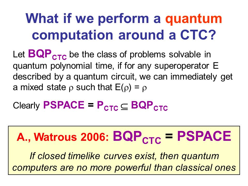 What if we perform a quantum computation around a CTC? Let BQP CTC be the class of problems solvable in quantum polynomial time, if for any superopera