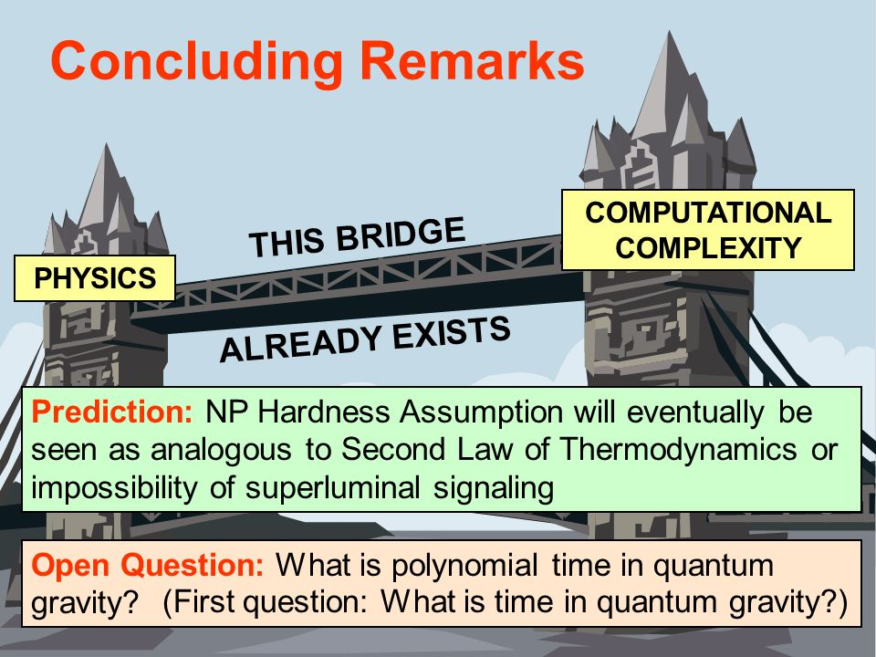 Concluding Remarks Prediction: NP Hardness Assumption will eventually be seen as analogous to Second Law of Thermodynamics or impossibility of superlu