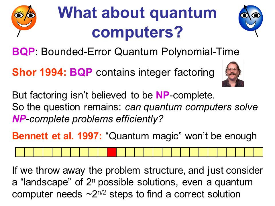 What about quantum computers? Shor 1994: BQP contains integer factoring But factoring isnt believed to be NP-complete. So the question remains: can qu