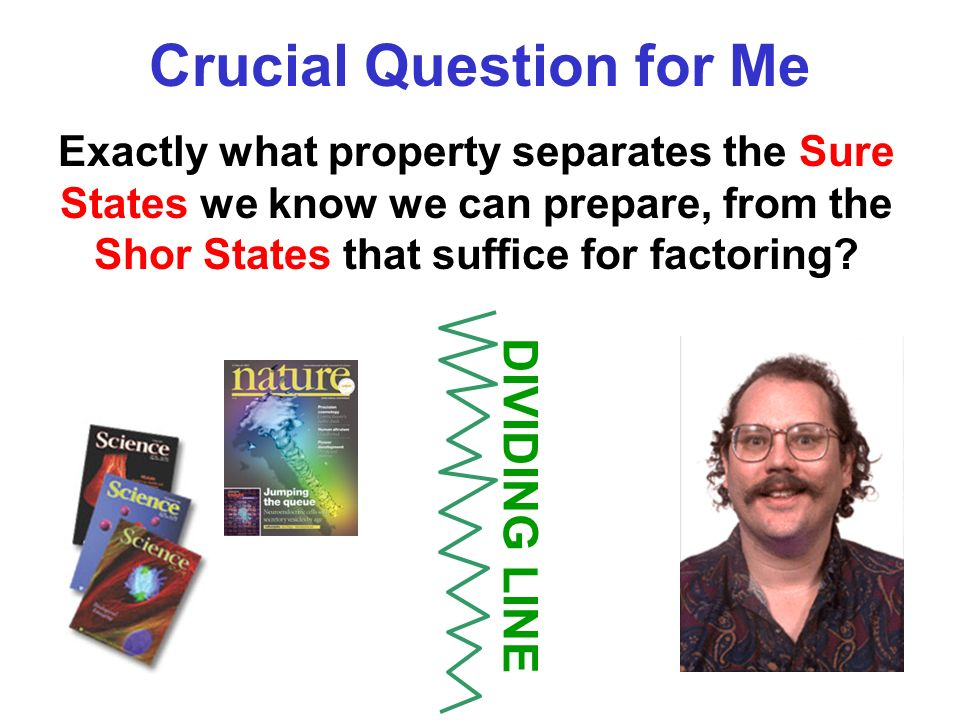 Exactly what property separates the Sure States we know we can prepare, from the Shor States that suffice for factoring.