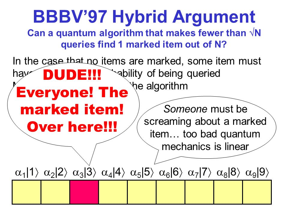 BBBV97 Hybrid Argument Can a quantum algorithm that makes fewer than N queries find 1 marked item out of N? In the case that no items are marked, some