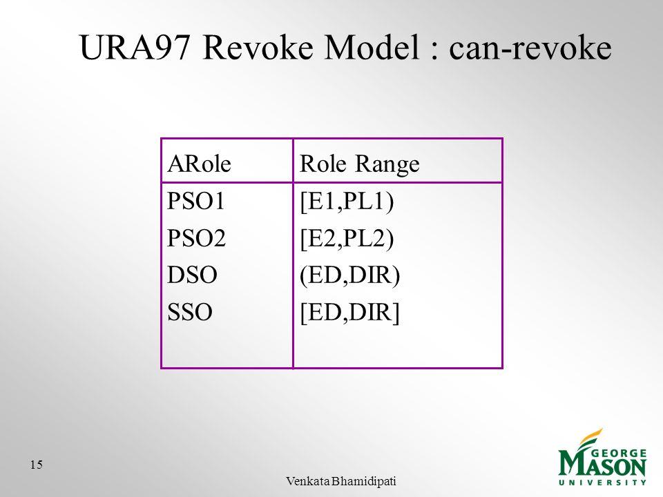 URA97 Revoke Model : can-revoke ARoleRole Range PSO1[E1,PL1) PSO2[E2,PL2) DSO(ED,DIR) SSO[ED,DIR] 15 Venkata Bhamidipati