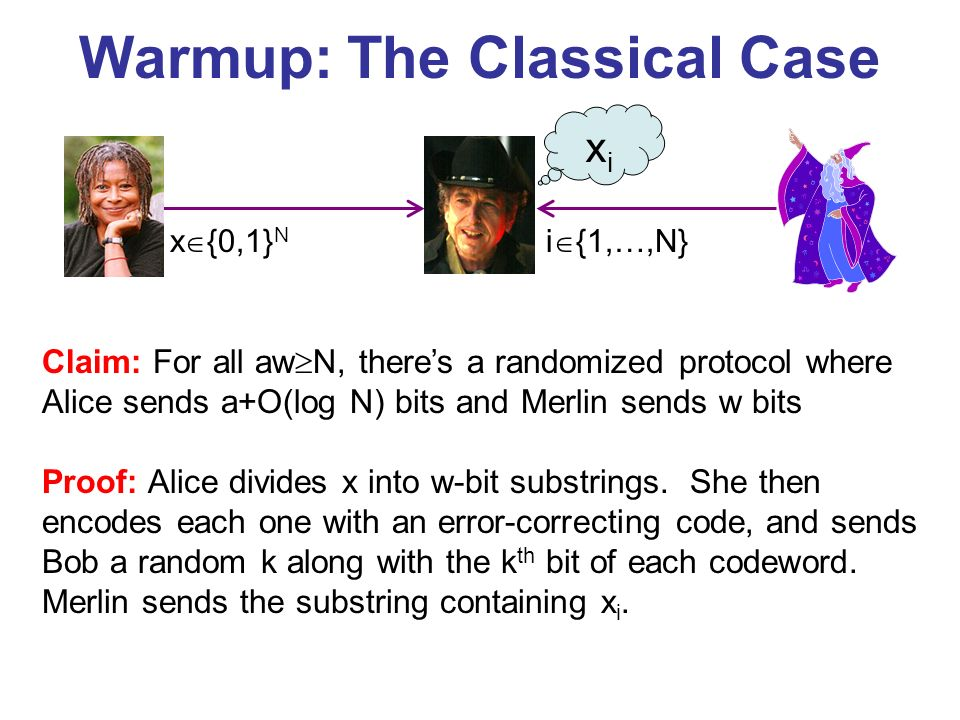 Warmup: The Classical Case x {0,1} N i {1,…,N} Claim: For all aw N, theres a randomized protocol where Alice sends a+O(log N) bits and Merlin sends w