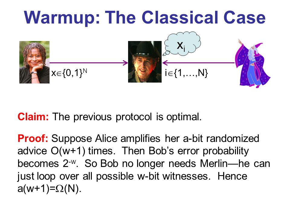 Warmup: The Classical Case x {0,1} N i {1,…,N} Claim: The previous protocol is optimal.