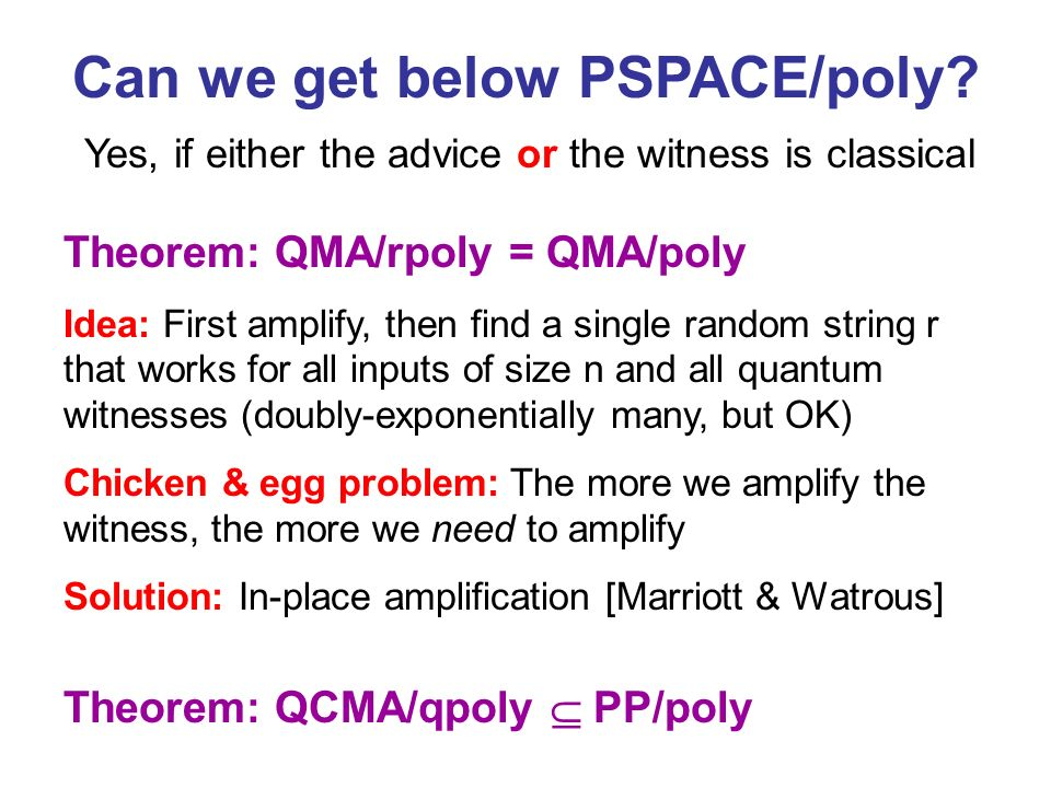 Can we get below PSPACE/poly.