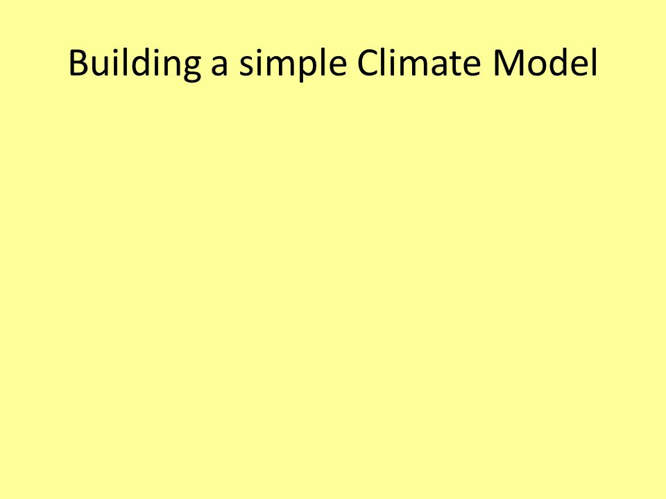 Building a simple Climate Model