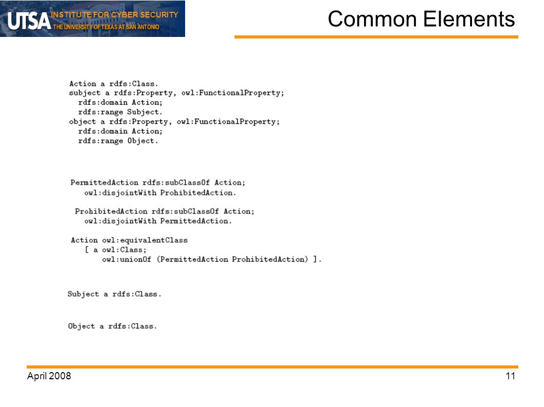 INSTITUTE FOR CYBER SECURITY April Common Elements