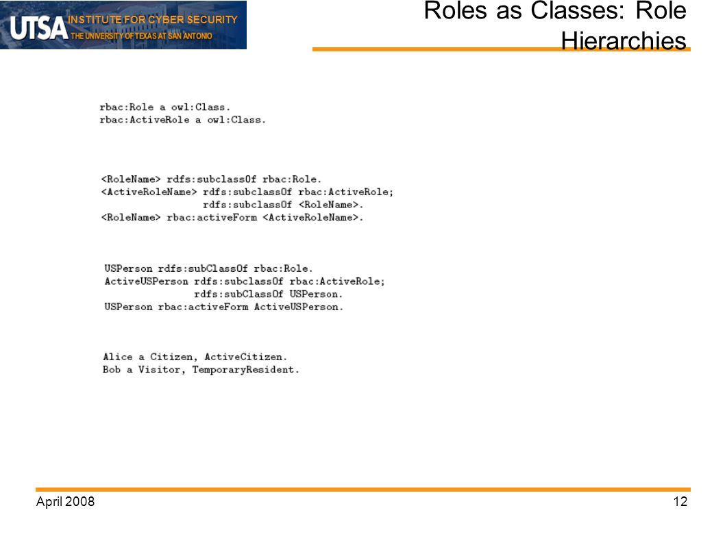 INSTITUTE FOR CYBER SECURITY April Roles as Classes: Role Hierarchies