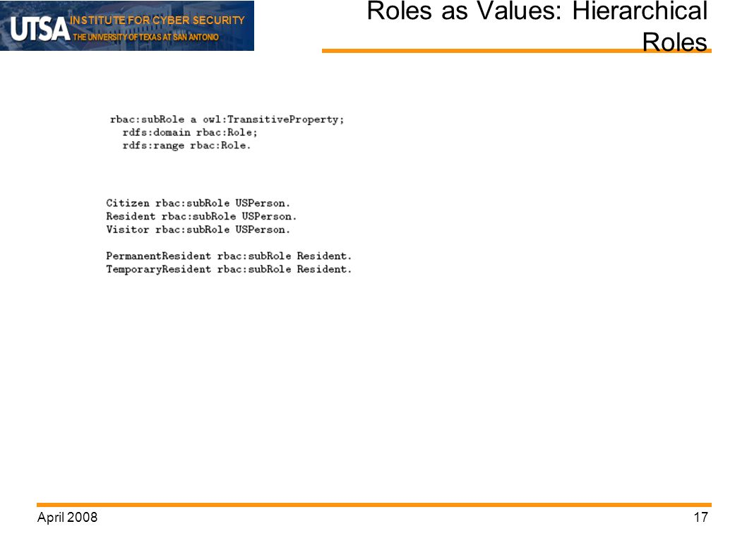 INSTITUTE FOR CYBER SECURITY April Roles as Values: Hierarchical Roles
