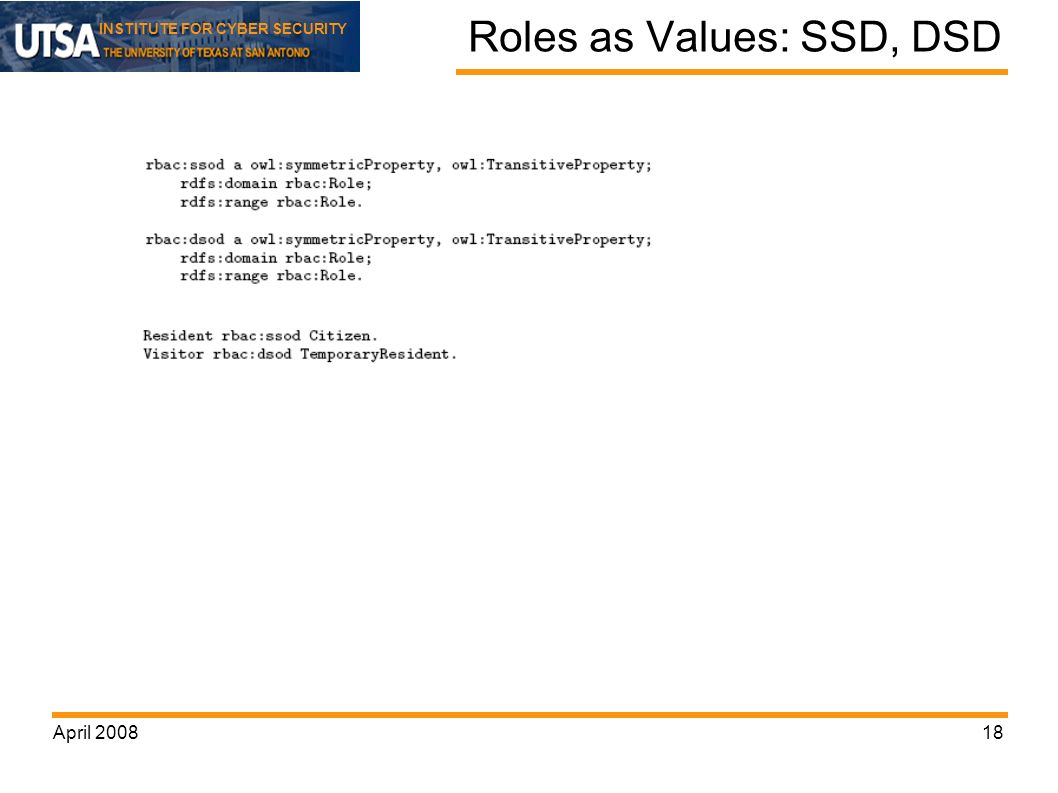 INSTITUTE FOR CYBER SECURITY April Roles as Values: SSD, DSD