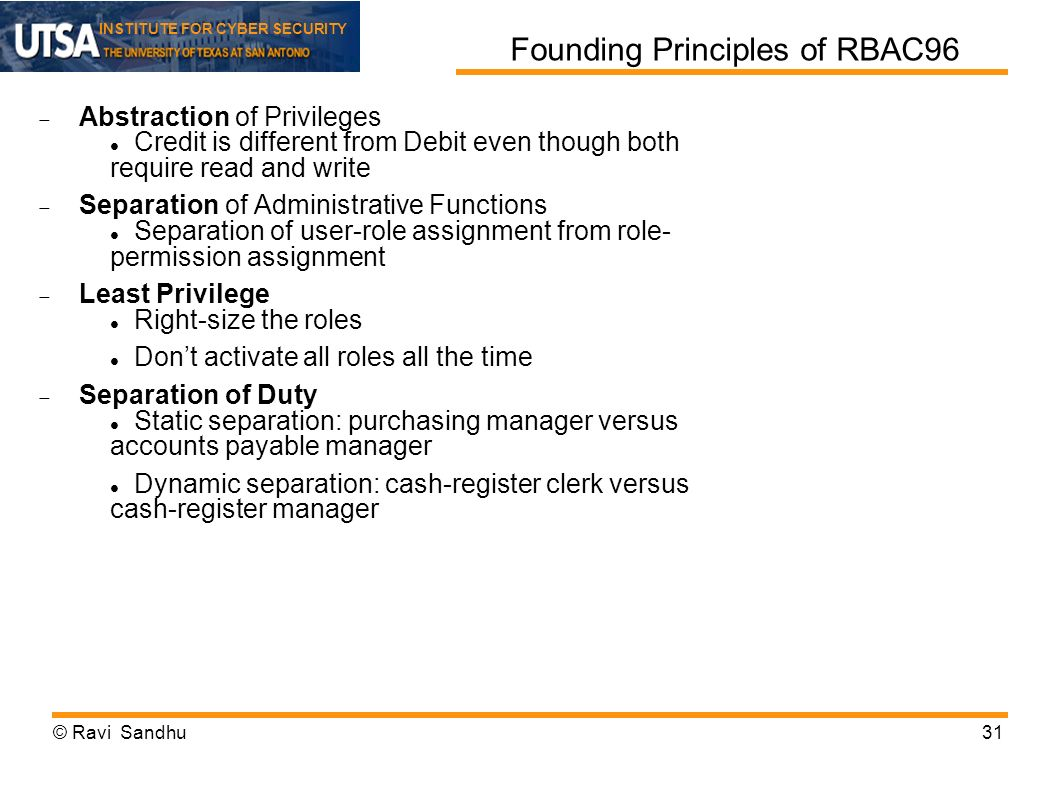 INSTITUTE FOR CYBER SECURITY Founding Principles of RBAC96 Abstraction of Privileges Credit is different from Debit even though both require read and