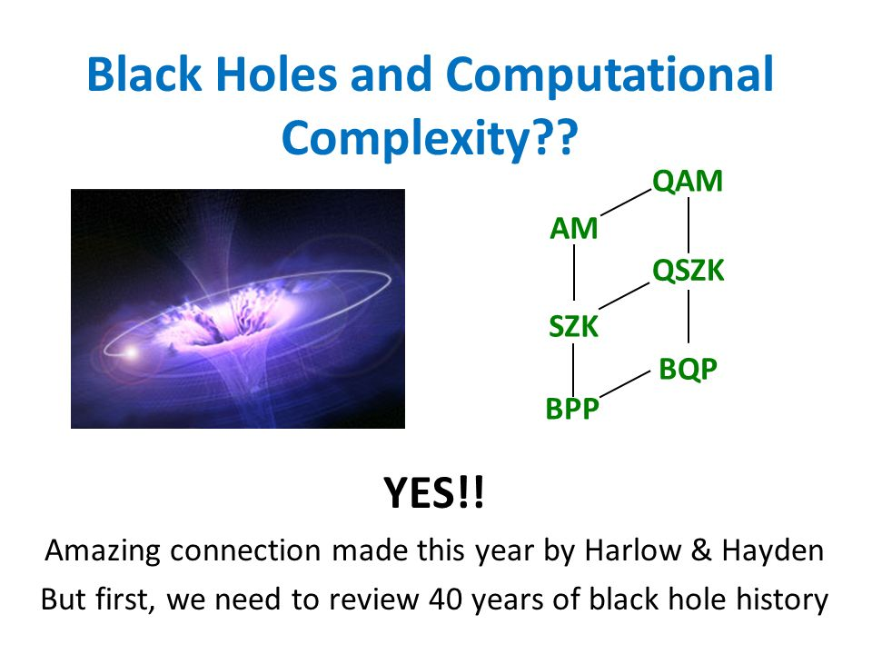 Black Holes and Computational Complexity?? YES!! Amazing connection made this year by Harlow & Hayden But first, we need to review 40 years of black h